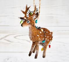 bottle brush reindeer with tangled lights ornament pottery barn