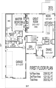 2 Story House Plans 3 Bedroom House Plans With Garage And Basement First Floor Plan