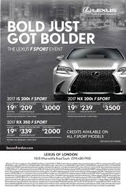 lexus is lease payments shoplocalnow canada bold just got bolder the lexus f sport event