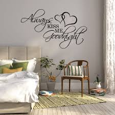 above bed decor etsy wall sticker quote always kiss goodnight over bed decor bedroom