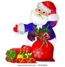 animated santa animated santa claus blue christmas costume stock vector 767318836