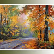 autumn painting tree paintings tree landscapes fall