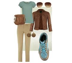 Comfortable Womens Clothes Women U0027s Casual Work Wear Tan Pants Aqua Shirt And Brown