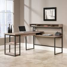 Home Office L Shaped Computer Desk Sauder Transit L Desk In Salt Oak Kitchen Dining