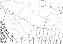 Coloriage paysage montagnard à imprimer et colorier
