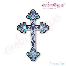 embroitique curly cross 2 embroidery design small
