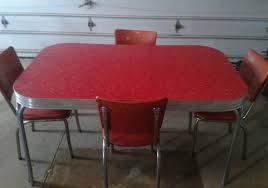 VINTAGE KITCHEN RED FORMICA  CHROME TABLE AND  CHAIRS RETRO - Retro formica kitchen table