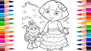 dora the explorer u0026 boots rainbow color dress learning coloring