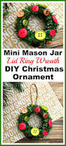 mini mason jar lid ring wreath diy christmas tree ornament