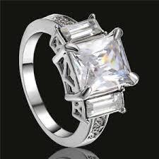 white zircon rings images Women lady 18k white gold filled white zircon ring wedding fashion jpg
