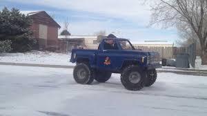 mini monster truck kart playing snow