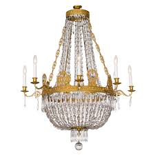 All Crystal Chandelier Fine French Empire Eight Light Ormolu And Crystal Chandelier For