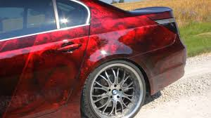 bmw 5 airbrush custompaint candy red lackierung girls car paint