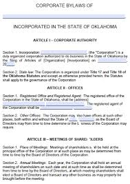 free oklahoma corporate bylaws template pdf word