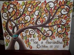 fall wedding guest book wedding guest book signature tree 100 painted fall leaves on 16