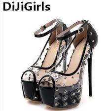 dijigirls 16cm heel platform high heels pvc rivet super high