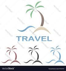 travel logo template beach palm tree sea vector image
