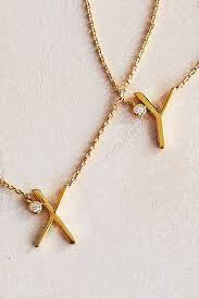 Gold Plated Monogram Necklace Delicate Monogram Necklace Anthropologie