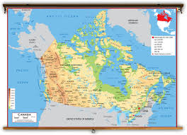 canada physical classroom map from academia maps