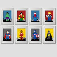 Childrens Bedroom Wall Art Uk Lego Superhero Prints Already Printed Superhero Art Set Of 8