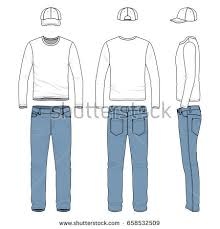 front back side views mens clothing stock vector 658530163