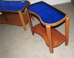art deco vintage mirror blue glass coffee table set from