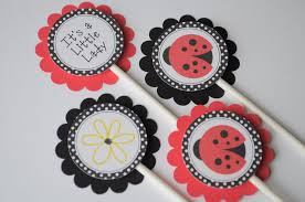 ladybug baby shower favors 12 cupcake toppers ladybug personalized birthdays or baby