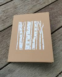 items similar to linocut card block print card birch tree card