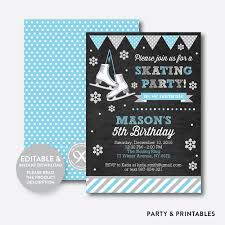 ice skating blue chalkboard kids birthday invitation editable