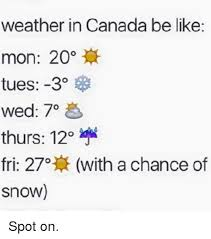 Canada Memes - weather in canada be like mon 20 tues 3 wed 7o thurs 120 fri