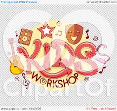 clipart of a kids workshop design with music and theater icons