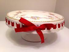Red Cake Plate Pedestal Porcelain Floral Cake Stands Ebay