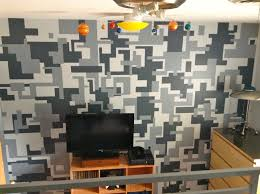digital camo wall but smaller and diff colors on one accent wall