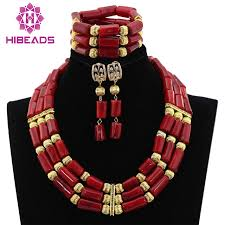 natural beads necklace images Natural real coral beads set 2017 latest nigerian african wedding jpg