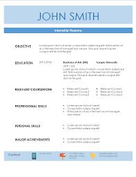 resume for internship internship resume template