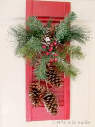 red shutter christmas door decoration crafts a la mode