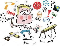 vector cartoon of home handyman doing carpentry job u2014 stock