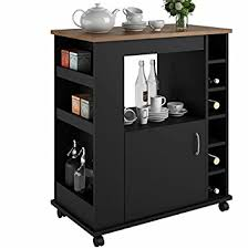 wine rack kitchen island amazon com portable kitchen island cart with wine rack rolling