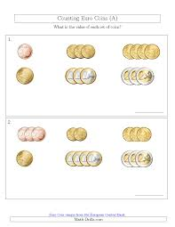 Coin Worksheets Counting Small Collections Of Euro Coins Sorted Version No 1 Or 2
