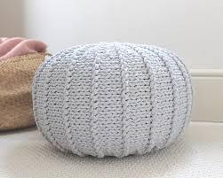 Ottoman Knitted Medium Light Grey Floor Pouf Ottoman Knitted Pouf Knit