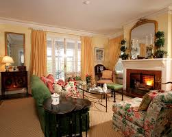 Floral Print Living Room Traditional With Fireplace Accessories - Floral accent chairs living room