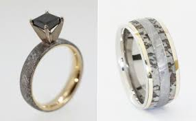 deer antler wedding band wedding rings made of dinosaur bone meteorite and deer antler