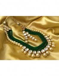 green pearls necklace images Necklace set kundan pearls and green beads long necklace online jpg