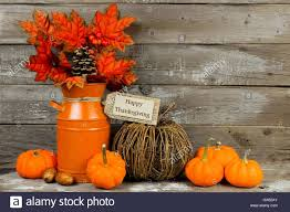 happy thanksgiving tag pumpkins and autumn home decor with rustic