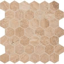 Hexagon Tile Kitchen Backsplash Hexagon Mosaic Tile Tile The Home Depot
