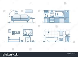 home interior design line illustration stock stock vector