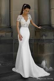 wedding dress sle sale london simple satin mermaid wedding dresses open back v neck