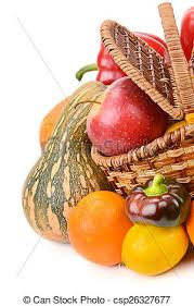 fruit in a basket vegetables and fruits in a basket isolated on white picture
