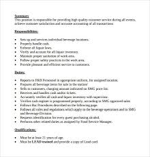 sle resume for bartender position descriptions bartender responsibilities for resume hitecauto us