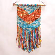 fair trade macrame wall hanging handmade with repurposed sari